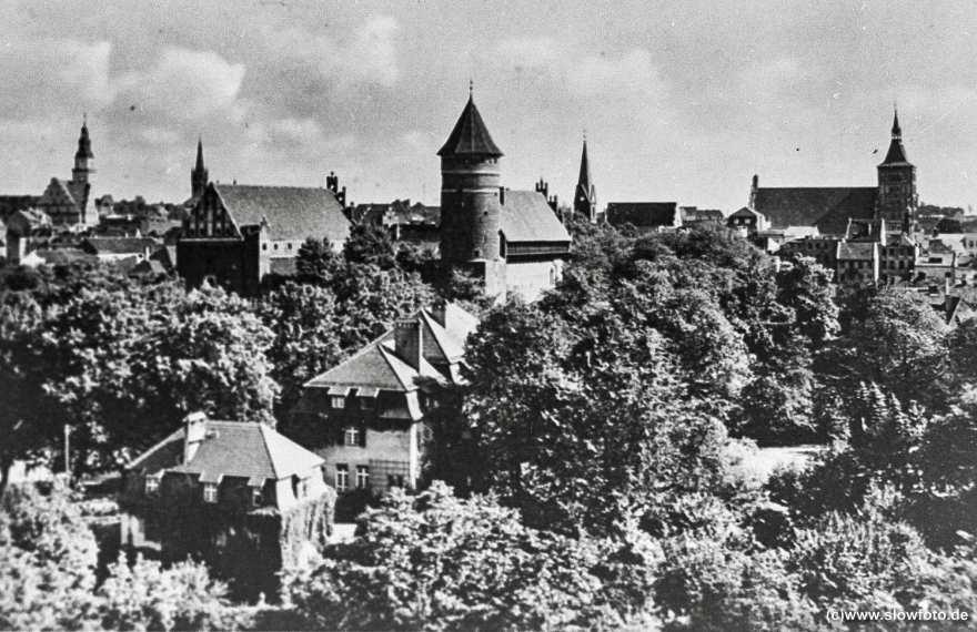 -Ansicht der Stadt mit Schloss, Kirchen und, links hinten, Rathaus