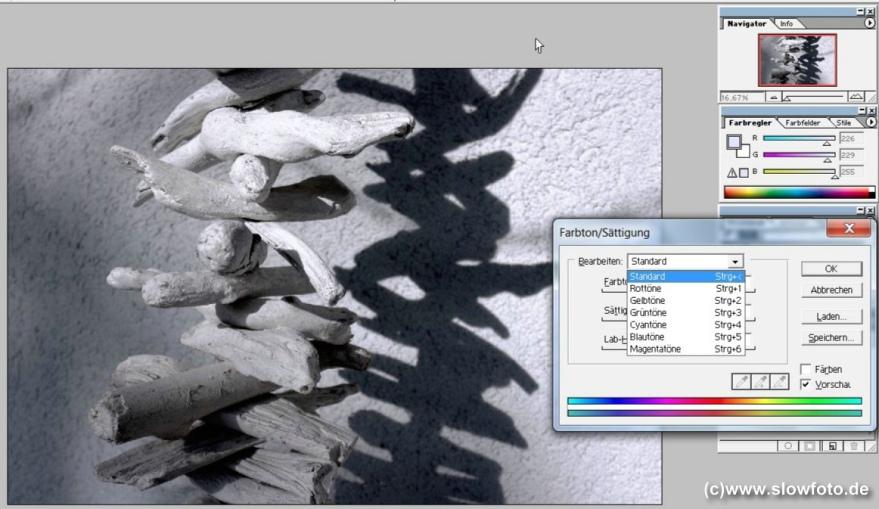 Photoshop Farbton verringern