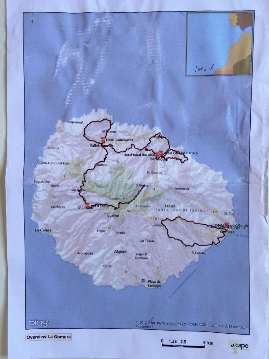 die Wanderrouten auf der Insel