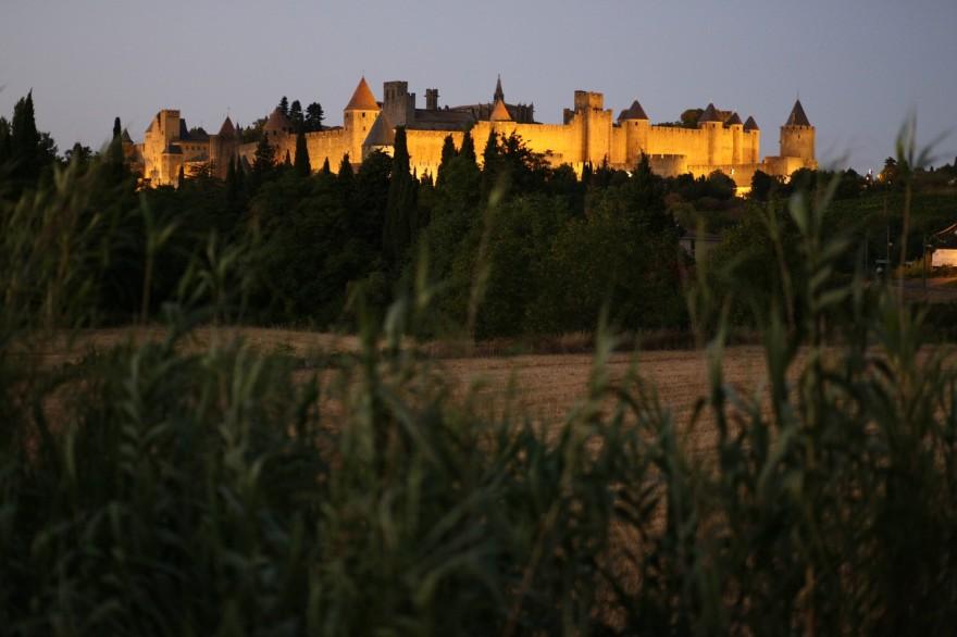 Carcassonne Festung bei Nacht